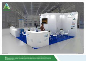 3D проект выставочного стенда для компаний «Контроль качества», «Холлидей Пигментс»