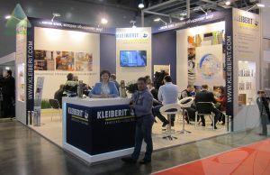 Эксклюзивный выставочный стенд из ДСП для Клейберит<br><br>Место проведения: Крокус экспо. Площадь стенда: 36кв.м. Высота: 3,5м.